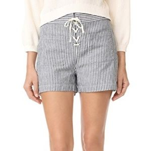 Madewell Lace Up High Rise Linen Blend Shorts